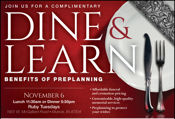 Dine and learn.  Call 317-636-6464